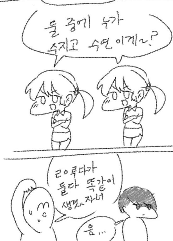 미친교훈 쌍둥이 자매를 구별하는 만화  No.1