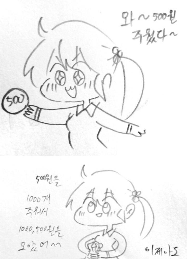 (욕설,후방주의)여고생쟝이 열심히 동전 줍는 만화 No.0