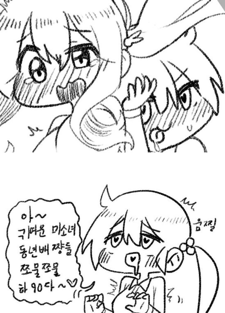 (ㅎㅂ)변태 치한 여고생쟝이 거유 여고생쟝 추행하는 만화 No.0